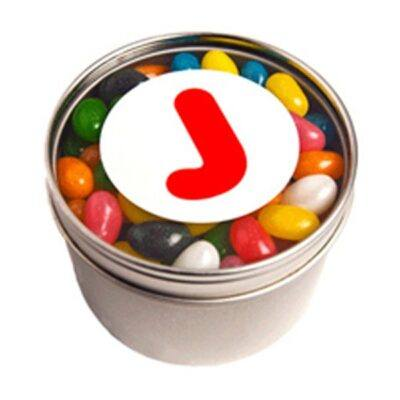 Jelly Beans Round Acrylic Window Tin