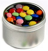 Choc Beans Round Acrylic Window Tin