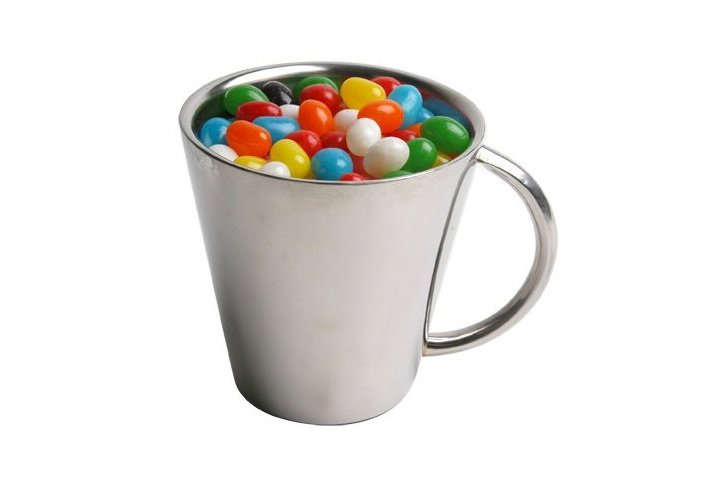Branded Jelly Beans in Silver Mug