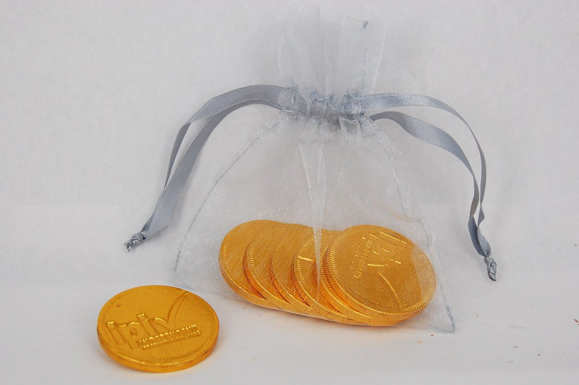 Branded Chocolate Coin Organza Bags
