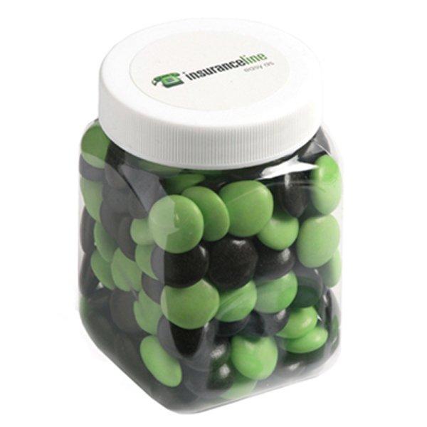 Choc Beans Square Plastic Jar