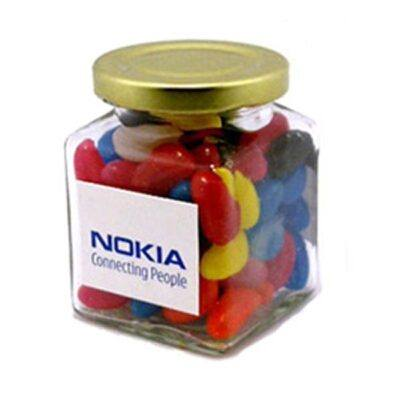 Jelly Beans Square Glass Jar