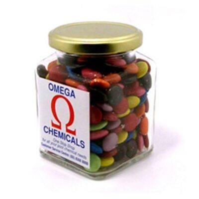 Choc Beans Square Glass Jar