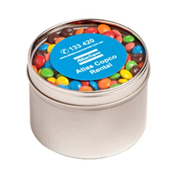 M&Ms Round Acrylic Window Tin