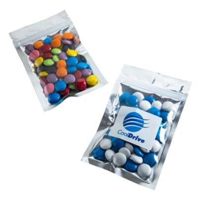 Choc Beans Silver Zip Lock Bag 50 Grams
