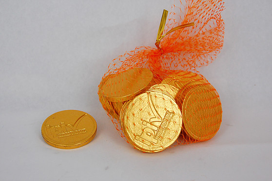 Custom Stamped Twenty Chocolate Coins Mesh Net Bag