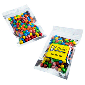 M&Ms Silver Zip Lock Bag 50 Grams