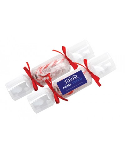 Clear Branded Christmas Crackers - Candy Canes
