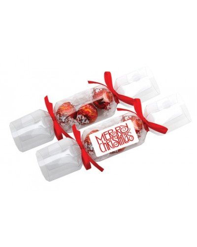 Clear Branded Christmas Crackers - Lindt Balls