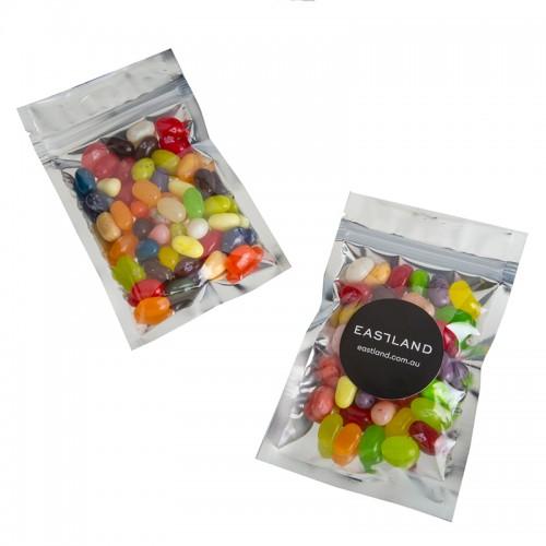 Jelly Belly Silver Zip Lock Bag 50 Grams